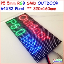 p5 outdoor full color led module, SMD 2828 IP65,high brightness 5500 nits, 1/8 scan,64*32 P, fullcolor outdoor SMD LED Panel p5(China)