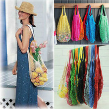 Reusable String Fruit Food Shopping Grocery Strorage Bags Drawstring Hangable Rolling Shopper Tote Mesh Net Woven Cotton Bags