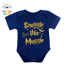 Funny Newborn Infant Clothes Snuggle This Muggle Letter Print White Short Sleeves Tiny Cottons Baby Bodysuits Baby Onesie 0-18M(China)