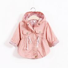 2017 Spring Girls Jackets And Coats Girls Winter Clothes Kids Parkas Hooded Baby Girl Warm Outerwear Polka Dot Children's Coats