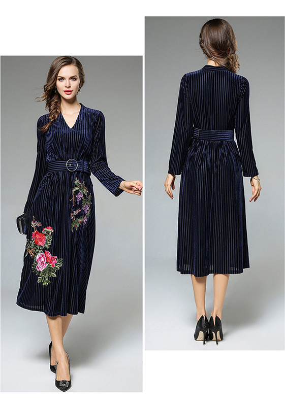 Heavy Embroidery Women Dress High-End Fashion Celebrity-Inspired Dresses Long Sleeve Autumn Robe Belted Vintage Style Vestidos (8)