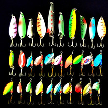 30pcs/lot 3-10g Fishing Lure Mixed Color/Size/Weight/ Hook/Diving Depth Metal Spoon Lures Hard Bait Iscas Artificiais Bass Lure(China)