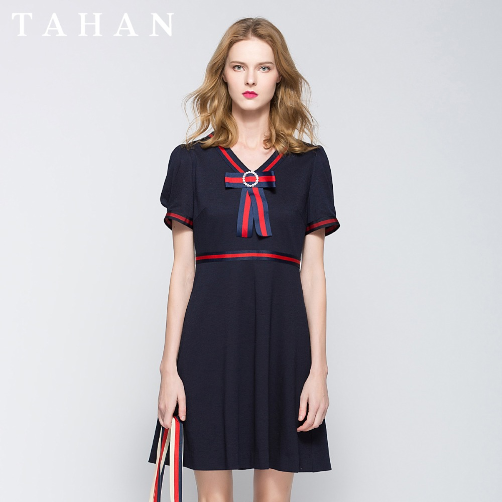 TAHAN/Taihe English Decorated Slimming  Summer Dresses