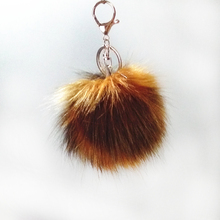 8cm Brown White Dark Red Series Fake Raccoon Fur Pompon Key Chain Bag Pendant Colorful Long Hair Fulffy Pom Jewelry Gifts