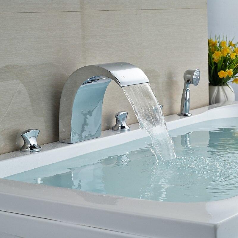 5Pcs Widespread Bathroom Shower Faucet Mixer Tap Deck Mount Three Handles Tub Set Faucet with Handshower<br><br>Aliexpress