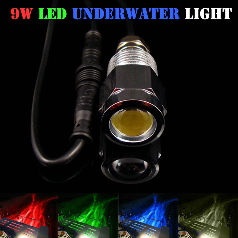 1x 9W Drain Plug Light DC8-28V Led Underwater Marine Light Blue Red Green White For Boat Fishing With Waterproof Connectors<br>