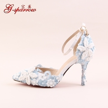 2017 Spring Blue Lace Flower Bridal Shoe White Pearl Diamond Rhinestone Wedding Shoes Pointed High Heel Sandals For Ladies