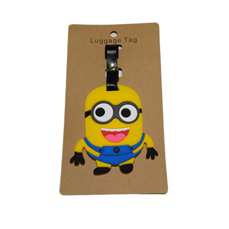 Travel Accessories Luggage Tag Suitcase Cartoon Style Cute Minions Silicone Tags Portable Travel Label Bag Tag Obag Accessories (6)
