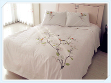 100%  Combed Cotton White Embroidery Pastoral  Tree and Birds  Duvet Cover 4 pcs    Duvet Cover Sheet  Pillowcase (China)