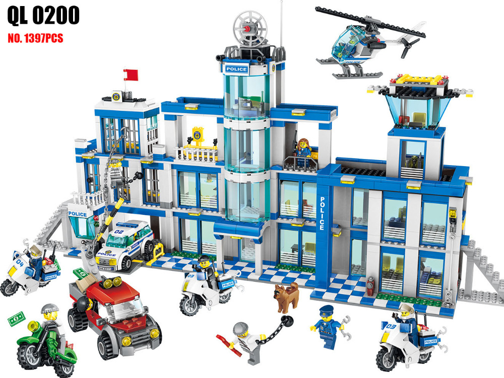 AIBOULLY QL0200 City Police Station motorbike helicopter Model building kits compatible city 60047 blocks toys for Children<br>