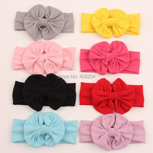 2016 Wholesale Kids Hair Accessories All Cotton Headband Messy Bow Headwrap Sweet Headwear 9 Colors Available 10pcs/lot(China)