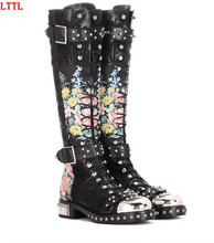 2017 Newest Rivets studded long boots leather & flock printed flowers Motorcycle Boots Round toe buckled strap bota feminina(China)