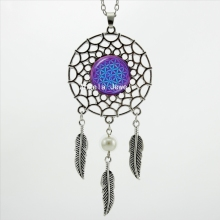 2017 Trendy Style Dreamcatcher Pendant Purple Blue Om Necklace Flower of Life Jewelry Dream Catcher Necklace DC-00157