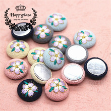 10pcs 18mm Five-Petal Flower Embroidery Fabric Covered Round Flatback Buttons DIY Home Garden Scrapbooking