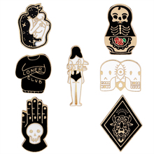 Vintage Jewelry Evil Hard Enamel Pins Punk Skeleton Skull Palm Totem Introvert Loner Brooch Lapel Pin Button Clothes Bag Badges(China)