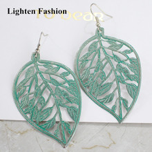 Women Vintage Style Hollow Out Leaf Earrings Personality Big Green Leaf Drop Earrings Special Plating Color Long Earrings