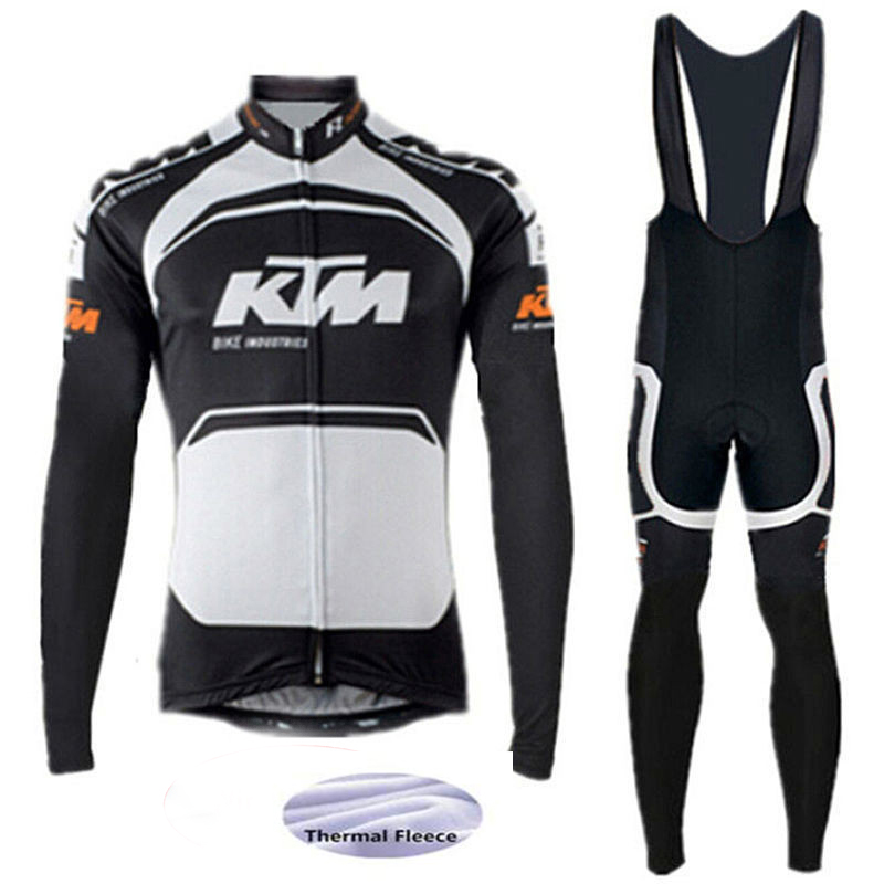 2017 New Pro Team Cycling Jersey Set Winter Thermal Long Sleeve Bicycle Bike Clothing Sportful Cycling Clothing Black<br>