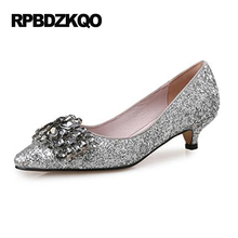 Plus Size Pointed Toe Sweet Black Women 2017 11 43 Glitter Low 4cm 2 Inch Silver Rhinestone Heels Pumps Thin High Sparkling