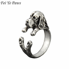 Fei Ye Paws Vintage Retro Style Basset Hound & Bloodhound Puppy Animal Wrap Ring Anillos Dog Rings For Women Anel Men Jewelry