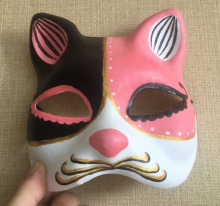 New Quality Handmade DIY Mask Halloween Pink Black Kitty Cat Mask Cosplay Costume Paper Mache Pulp Mask(China)