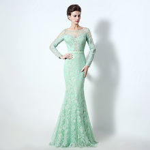 New Arrival Elegant Aqua Floor Length Evening Dresses 2017 Lace Crystal Beaded Mermaid Formal Evening Gowns robe de soiree LX072
