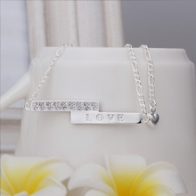 New Arrival!!Wholesale 925 Sterling Silver Anklets,925 Silver Fashion Jewelry,LOVE Straight Tag Anklets SMTA013