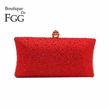 Dazzling Red Ruby Crystal Women Evening Clutch Box Hand Bag Metal Bridal Rhinestones Shoulder Handbag Wedding Clutches Purse