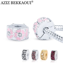 Crystal Stopper Lock Clip Fit Pandora Bracelets European Original Full Crystal Beads Pink Flower Spacer Safety Beads 5 Colors