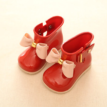 Waterproof Child Rubber Boots Cute Baby Jelly Shoes For Girl Rain Boot With Bow Cute Soft Children Rain Shoes(China)