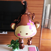 1 pc 120 X 86cm Lovely flower monkey Aluminum foil balloons birthday party decorations kids toys Animal zoo festa ballons