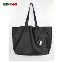 GINIANI Ultra Simple Genuine Soft Top Leather Women's Large Capacity Shopping Tote Ladies' Classic Solid Black Big Handbags