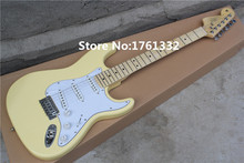 China special price hot sale factory custom white yellow guitar with 3 single pickups,white pick guard,can be changed as request