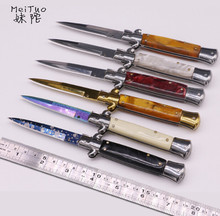 MeiTuo Pocket folding knife 440C blade acrylic handle outdoor utility EDC hunting knives camping hand tool tactical survival