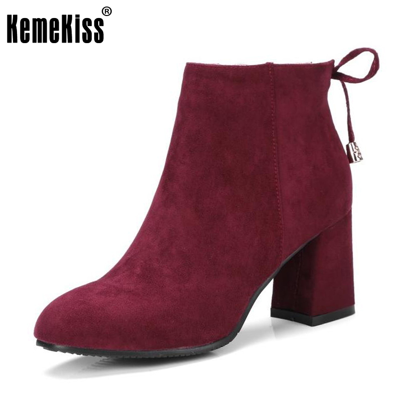 KemeKiss Women High Heels Shoes Women Zipper Ankle Strap Solid Color Thick Heels Boots Laides Daily Office Footwear Size 32-46<br>