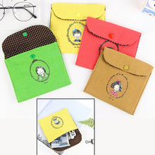 4 Color 13 X 13.5cm Handmade with cotton fabric Women Sanitary Napkin Tampons Personal Holder Easy Bag Girls Organizer
