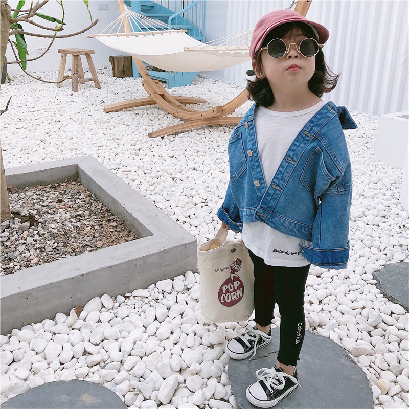 2019 spring girls denim coat full sleeve fashion kids girls jacket