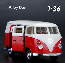 High simulation Volkswagen T1 bus, 1: 36 scale alloy pull back car model, metal castings, collection model, free shipping