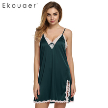Ekouaer Brand Women Sexy Suspender Nightdress Deep V Lace Satin Sleepwear Nightgown European and American Sexy Lingerie(China)