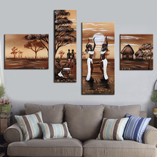Abstract Wall Pictures African Women Painting Dancing African Landscape Oil Painting 4 Panel Wall Picture Artwork for Home Decor