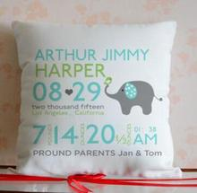 personalized beddings Cute Elephant New Born Baby Pillow case Personalized Birth Announcement Gift 18""