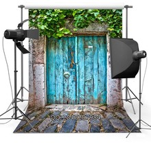 Blue Vintage Door photo backdrop portrait cloth Computer printed wedding Backgrounds for sale