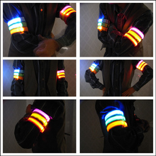 1pcs Night Lighing Arm Band 3 modes Reflective Safety Belt Arm Strap Night Cycling Running LED Armband Light 6 colors