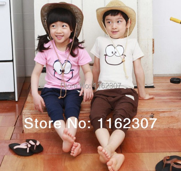 Free shipping summer boy girl clothing sets cheap price children bodysuits T shirt + pants(China (Mainland))