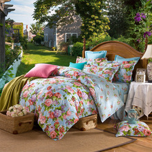 Pastrol Style Flowers Bedding Set 4 Pieces High Quality100% Cotton  Bedding Cover Home Bed Decoration