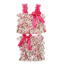 Low Price Summer Style Baby Girl Ruffled PettiTop And Pants Outfit Infant Toddler Boutique Clothing Set LH7s(China)