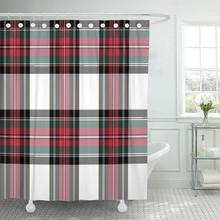 Shower Curtain With Hooks Red Plaid Dress Stewart Tartan No Gradients Abstract Black Cashere Celtic Check