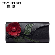 TOMUBIRD wallet women genuine woman leather bag handmade flower Ladies evening makeup layer National wind Clutches wallet