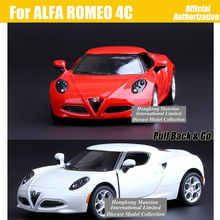 1:36 Scale Alloy Metal Diecast Sports Car Model For ALFA ROMEO 4C Collection Model Pull Back Toys Car-Red / Gray / White / Black
