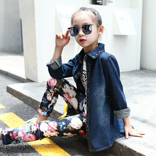 Retail 3pcs Sets Kids Girls Classical Style Autumn Sets For Girls Leopard Head Denim Jacket+White T-Shirt+Floral Pattern Tights(China)