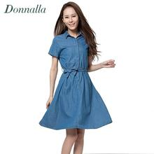 Brand Denim Dress Women Casual Lapel Single Breasted Jeans Women Dress with Belt Pleated Blue A line Denim Shirt Dress 2016(China)